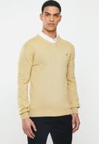 POLO - Luke long sleeve v-neck pullover - stone