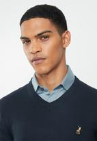 POLO - Luke long sleeve v-neck pullover - navy