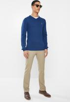 POLO - Luke long sleeve v-neck pullover - blue
