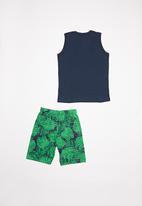 Bee Loop - Boys tank top & shorts set - green & black