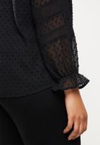 edit Plus - Plus lace inset blouse - black
