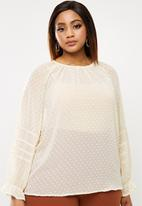 edit Plus - Plus lace inset blouse - beige