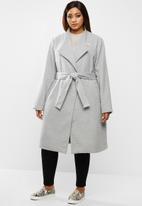 edit Plus - Plus funnel neck coat - grey