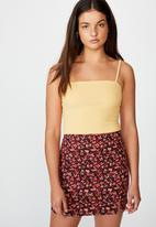 Factorie - Double split mini skirt - abstract ruby floral