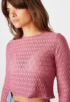 Factorie - Long sleeve dainty texture - ruby plum