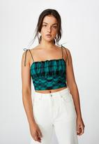 Factorie - Tie strap cami - pacific green check
