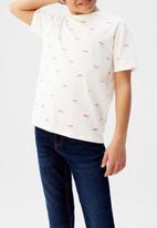 MANGO - T-shirt stamp  - white & pink