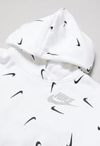 Nike - Girls nsw crop hoodie aop  - white & black