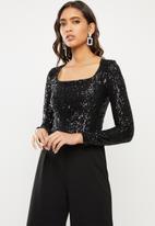 Sissy Boy - Girl boss sequin scoop neck bodysuit - black
