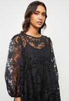 VELVET - Organza burn out tiered midi dress - black