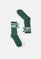 PUMA - 2 Pack brand socks - green & white