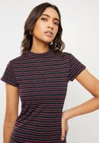 Cotton On - Anissa short sleeve bodycon midi - elsa stripe navy