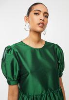 Blake - Puff sleeve tiered dress - green