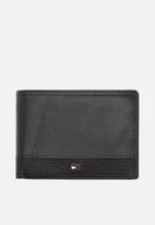 Tommy Hilfiger - Tommy hilfiger business flap & coin wallet leather - black