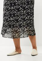 edit Plus - Printed chiffon a-line skirt - black