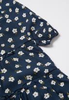 Superbalist Kids - Tiered printed dress - navy & white