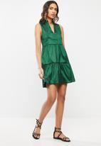 VELVET - Pie-crust tiered mini dress - emerald