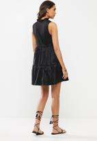 VELVET - Pie-crust tiered mini dress-black