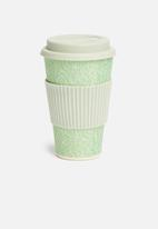 Excellent Housewares - Bamboo drinking mug - mint & olive