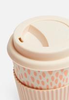 Excellent Housewares - Bamboo drinking mug - pink & white