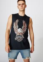Factorie - Daytona beach graphic muscle tank - washed black