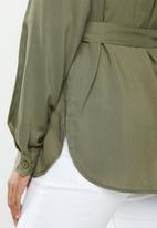 edit - Mandarin collar shirt - khaki