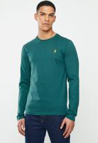 POLO - Mens paul plain crew neck ls T-shirt- green