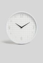 H&S - Grid wall clock - white