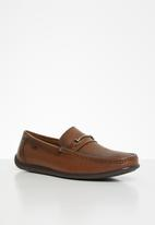 POLO - Mens joey pin punch trim vamp loafer - brown
