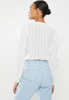 Missguided - Button front puff sleeve embroidered bodysuit - white