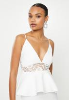 Missguided - Lace panel scuba tiered midi dress - white