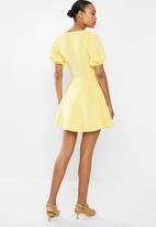 Missguided - Knot front puff sleeve skater dress scuba - yellow