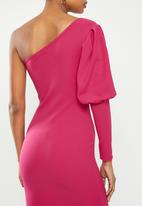 Missguided - One shoulder puff sleeve bodycon dress - pink
