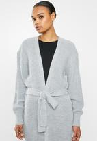 Missguided - Belted maxi cardigan - grey