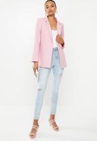 Missguided - Linen boyfriend blazer - pink