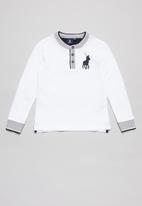 POLO - Boys Layton long sleeve henley golfer - white