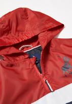 POLO - Boys Clyde hooded quarter zip active pullover - red & navy