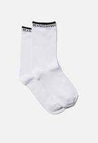 Cotton On - Carrie crew sock - white