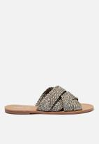 Cotton On - Aggy woven slide sandal - khaki raffia tape