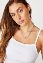 Rubi - Chunky rope chain fob treasures necklace  - silver