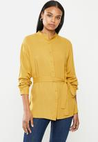 edit - Mandarin collar shirt - chartruese