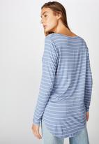 Cotton On - Karly long sleeve top - led stripe infinity blue & white