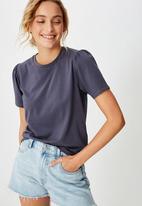 Cotton On - Puff sleeve short sleeve top - midnight navy