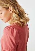 Cotton On - Puff sleeve short sleeve top - faded rose