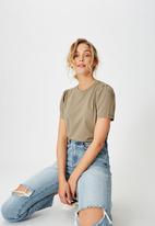 Cotton On - Puff sleeve short sleeve top - desert taupe
