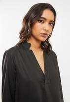 G-Star RAW - Milary v-neck shirt dress long sleeve - raven