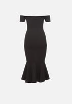 Missguided - Petite bardot fishtail hem midi dress - black