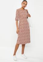 edit - Curved waist midi dress - rust