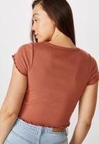 Cotton On - Turnback short sleeve top - dusty brown