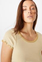 Cotton On - Turnback short sleeve top - kenny stripe new wheat/gardenia